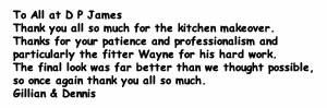 Kitchen makeover testimonial from Gillian & Dennis