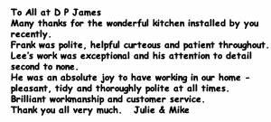 Kitchen testimonial by Julie & Mike